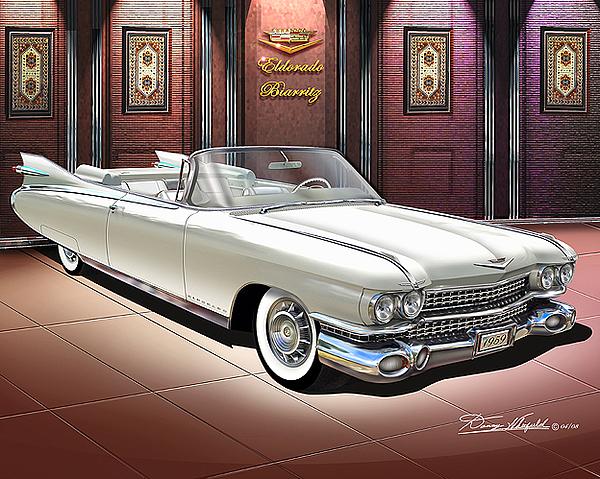 Convertible Painting - 1959 Cadillac Eldorado Birritz by Danny Whitfield