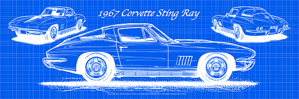 1967 Corvette Sting Ray Coupe Reversed Blueprint Digital Art by K ...