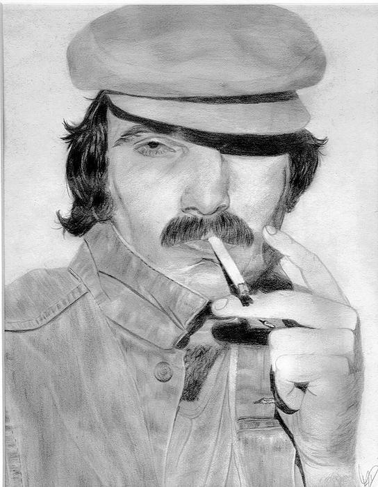 Portrait Drawing - 1970s Stephen by Monika Degan