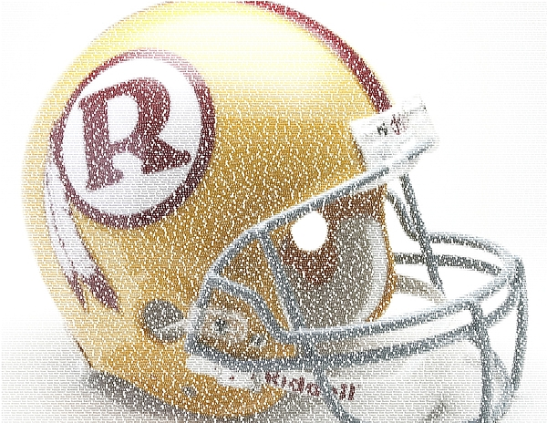 Washington Redskins Digital Art - 1971 Redskins Helmet Greatest Players Mosaic by Paul Van Scott