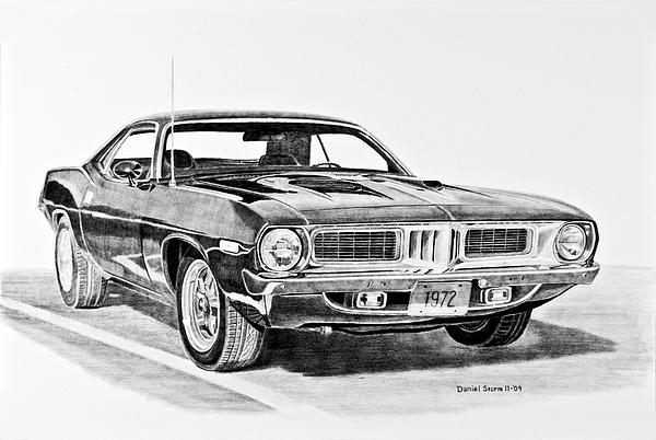 Barracuda Drawing - 1972 Plymouth Barracuda by Daniel Storm