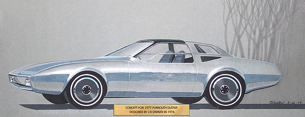 Car Concepts Drawing - 1974 Duster  Plymouth Vintage Styling Design Concept Sketch  by John Samsen