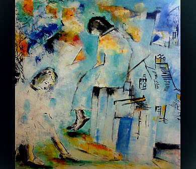 Abstract Figurative Painting - Thinking by Talal  Ghadban