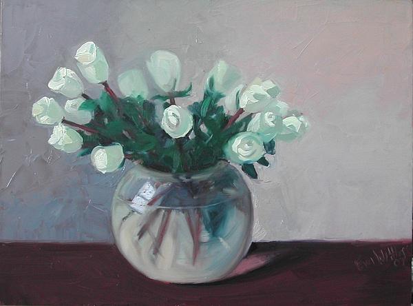 Floral Oil Painting - White Roses by Eva Wittlinger
