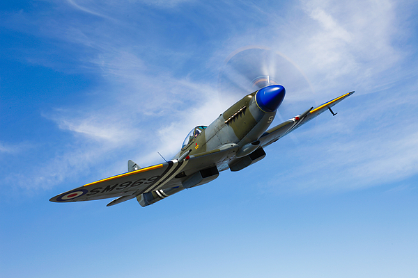 Reconnaissance Photograph - A Supermarine Spitfire Mk-18 In Flight by Scott Germain