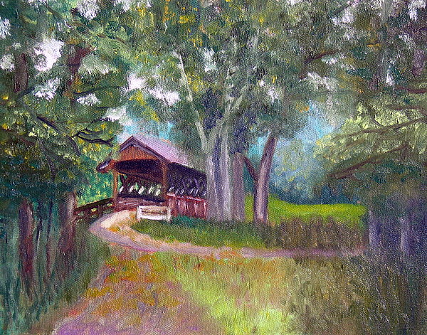 Plein Air Painting - Avon Covered Bridge by Stan Hamilton