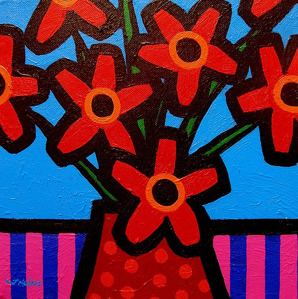 Modern Painting - Black Eyed Flowers by John  Nolan