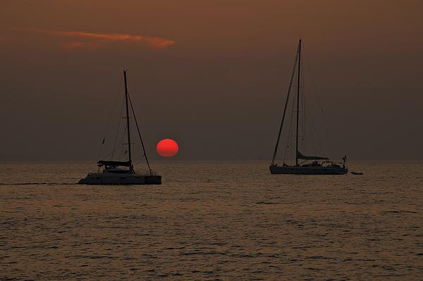 Sun Photograph - Boats In The Sunset by Joana Kruse