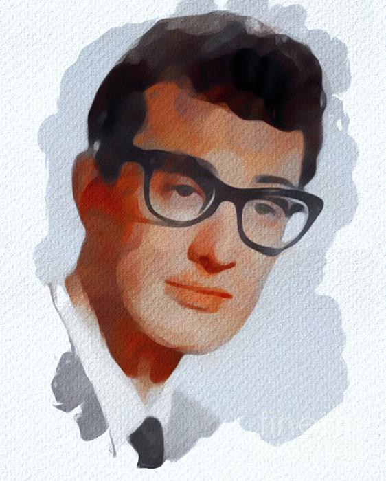 Buddy Painting - Buddy Holly, Music Legend by Mary Bassett