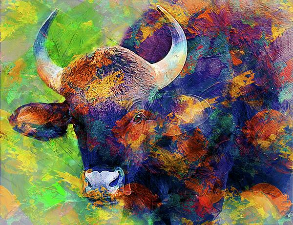 Bull Digital Art - Bull by Elena Kosvincheva