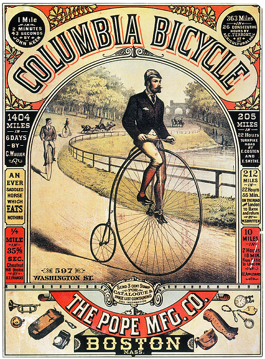 1886 Photograph - Columbia Bicycles Poster by Granger