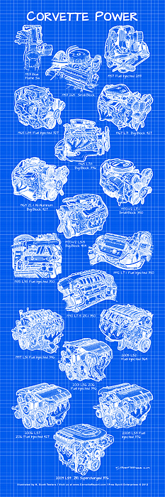 Corvette Engines Drawing - Corvette Power - Corvette Engines Blueprint by K Scott Teeters