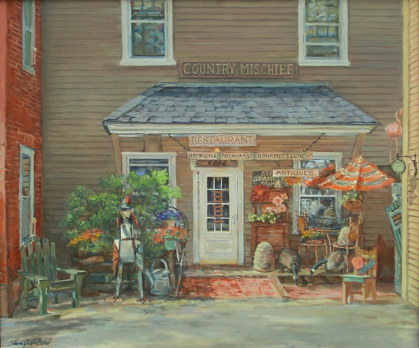Antiques Shop Painting - Country Mischief by Sharon Jordan Bahosh