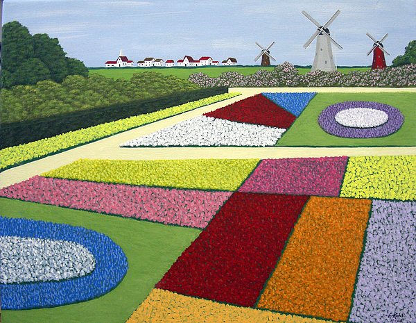 Landscape Paintings Painting   Dutch Gardens By Frederic Kohli