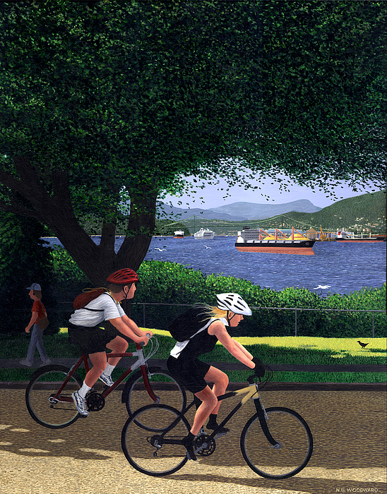 Cycling Painting - East Van Bike Ride by Neil Woodward