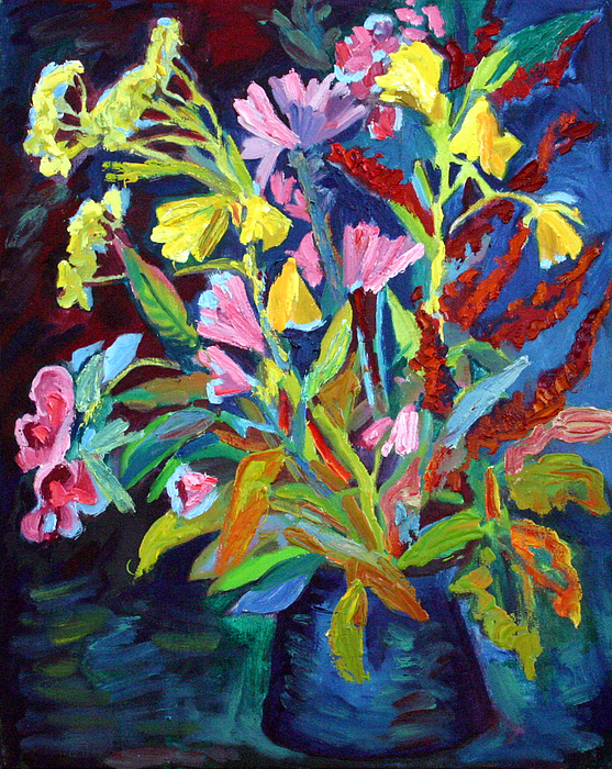 Flowers Painting - Evening Flowers by Katia Weyher