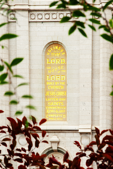 Slc Temple Photograph - Holiness To The Lord by La Rae  Roberts