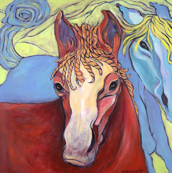 2 Horses Painting by Michelle Spiziri