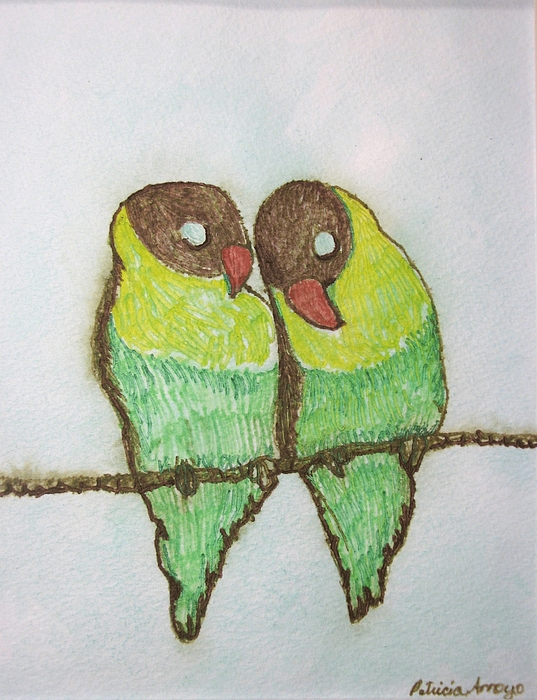 Birds Painting - Love Birds by Patricia Arroyo