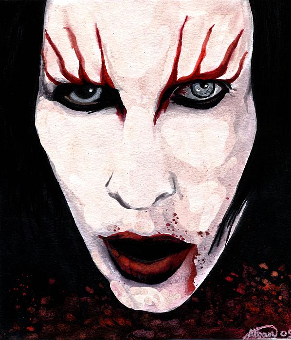 Marilyn Manson Painting - Marilyn Manson Portrait by Alban Dizdari