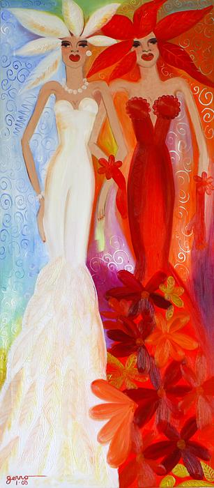 Mermaids Painting - Pearl And June by Helen Gerro