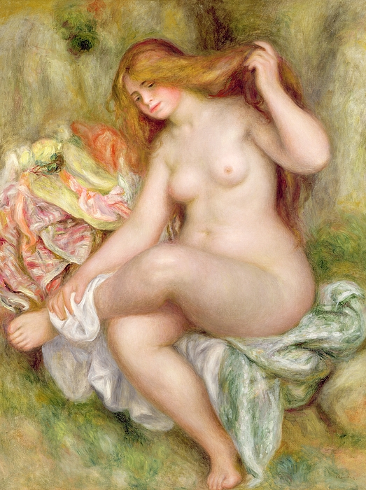 Seated Painting - Seated Bather by Pierre Auguste Renoir