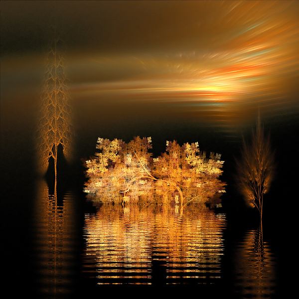 Fractal Digital Art - Twilight On The Bayou by Richard Ortolano