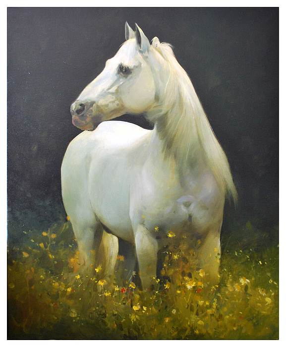 Horse Painting - White Horse by Manuel Garcia