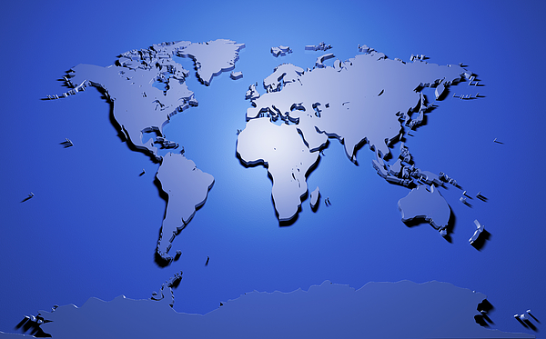 Digital Map Of The World.World Map In Blue Digital Art By Michael Tompsett