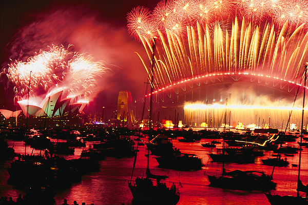 Color Image Photograph - 20 Tons Of Fireworks Explode by Annie Griffiths