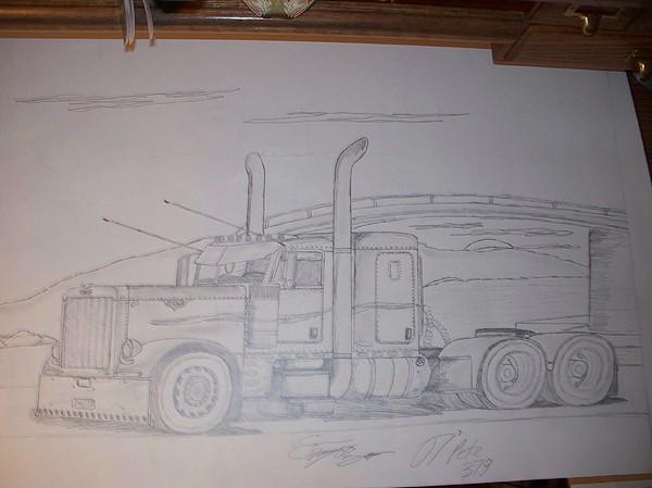 Truck Drawing - 2007 Peterbilt 379 Flattop by Sam Wipf