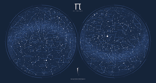 Pi Digital Art - 2017 Pi Day Star Chart Azimuthal Projection by Martin Krzywinski