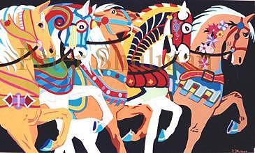 Carousel Horses Painting - Carousel Horses Number 128 by Peter Shulman