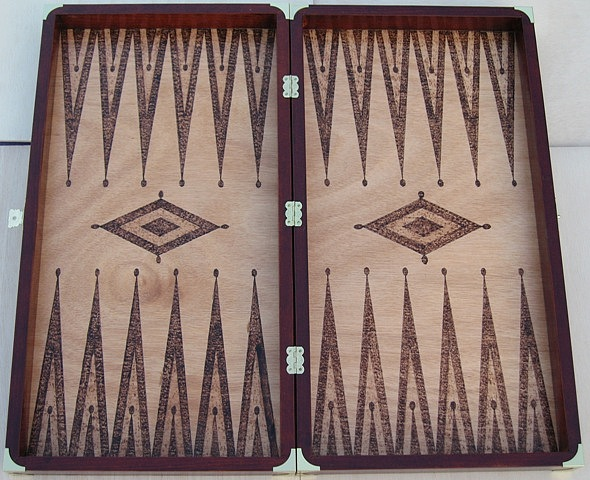 Landscape Pyrography - Backgammon Game by Steven Steven