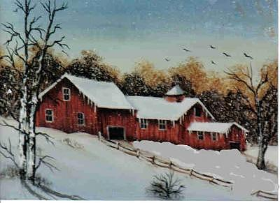 3 Barn Scene Painting by Mickey-Barb Brown