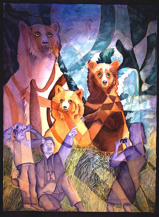 Bears Painting - 3 Bears by Arleen Barton