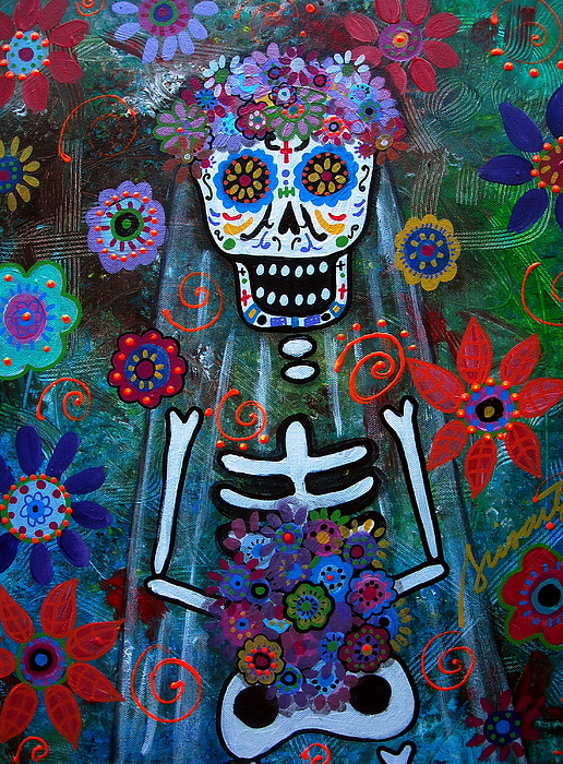 Wedding Couple Day Of The Dead Dia De Los Muertos Anniversary Gift Te Amo Prisarts Pristine Cartera Turkus Bride Flowers Blooms Love Mexican Art Folk Town For Sale Original Painting - Day Of The Dead Bride by Pristine Cartera Turkus