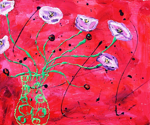 Pink Mixed Media - Happy Poppies by Victoria  Johns