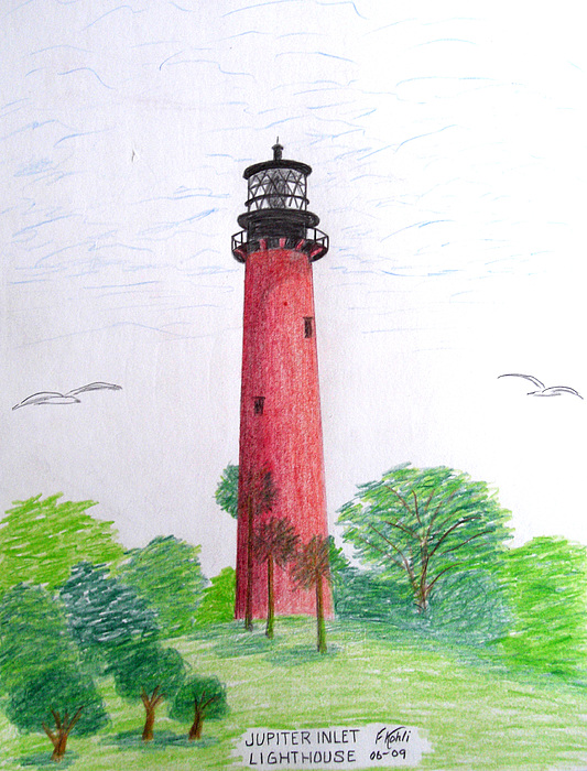 Lighthouse Drawings Drawing - Jupiter Inlet Lighthouse  by Frederic Kohli