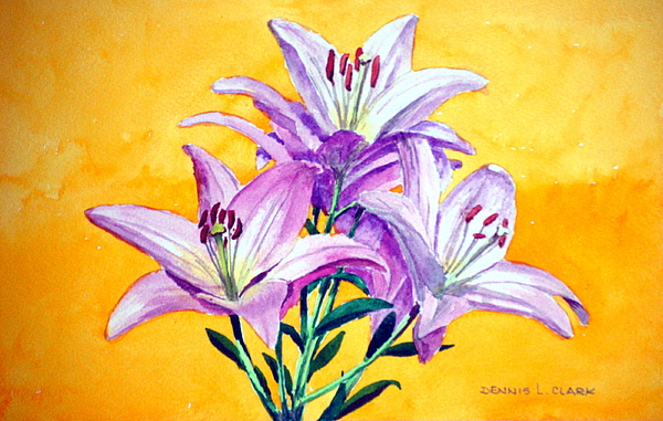 Flowers Painting - 3 Pink Lilies by Dennis Clark