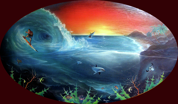 Spirit Of Creation Painting - Sunset Surfer by Sevan Thometz