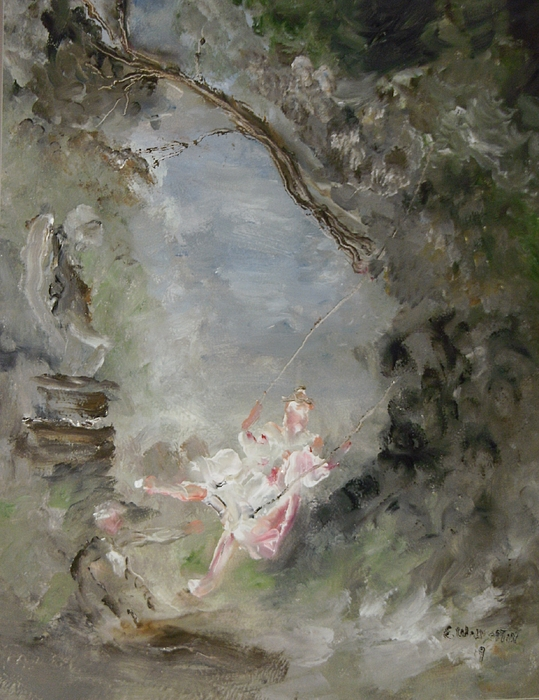 Landscape Painting - The Swing by Edward Wolverton