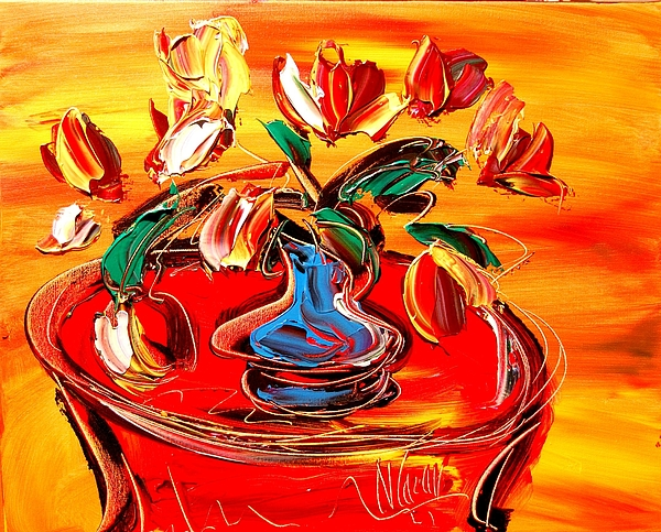 Red Poppies Painting - Tulips by Mark Kazav