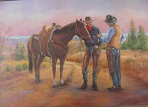 Western Painting - 3 Way Conversation by Naomi Dixon