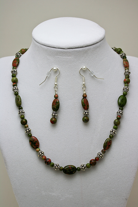 Handmade Jewelry - 3525 Unakite Necklace And Earring Set by Teresa Mucha