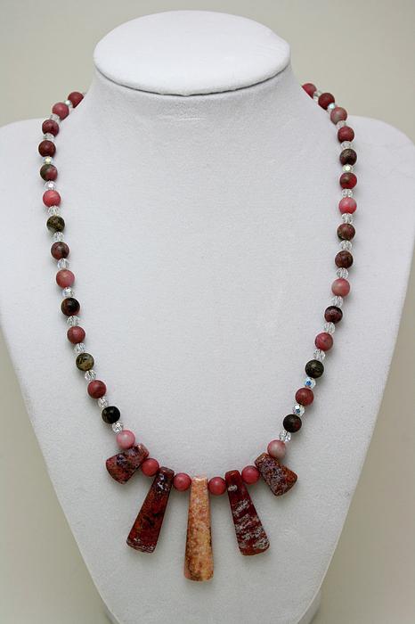Handmade Jewelry - 3541 Rhodonite And Jasper Necklace by Teresa Mucha