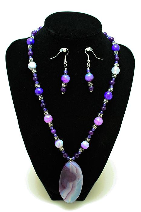 Jewelry Jewelry - 3547 Purple Veined Agate Set by Teresa Mucha