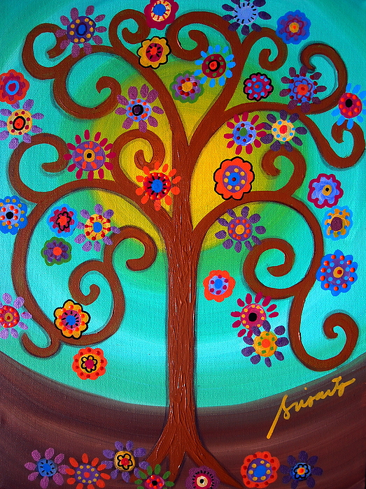 Tree Hope Life Mexican Paintings Folk Art Artist Prints Posters Flowers Blooms Pristine Cartera Turkus Prisarts  Whimsical Painting - Tree Of Life by Pristine Cartera Turkus