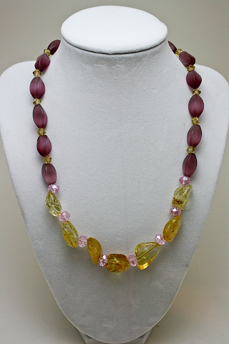 Handmade Jewelry - 3603 Citrine And Amethyst Cats Eye Necklace by Teresa Mucha