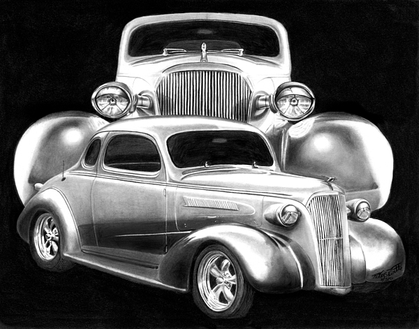 Transportation Drawing - 37 Double C by Peter Piatt